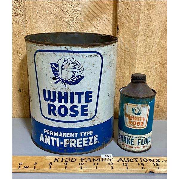 WHITE ROSE ANTI-FREEZE & BRAKE FLUID CANS
