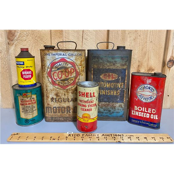 LOT OF 6 MISC CANS - SHELL, CO-OP,  ETC