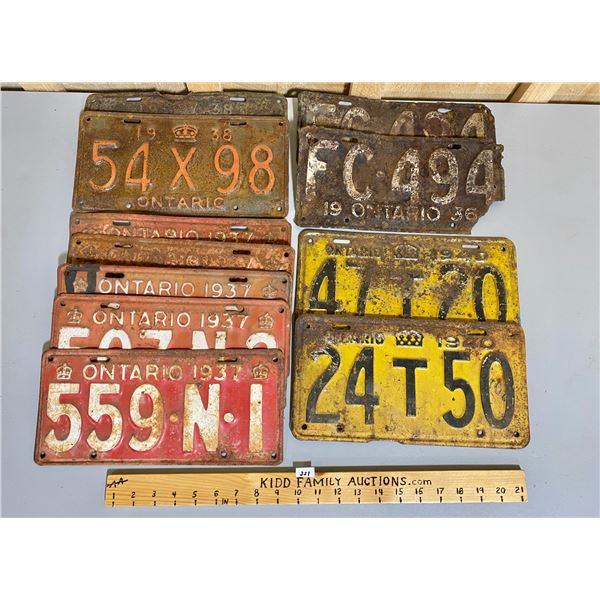 QTY OF ONTARIO LICENCE PLATES - 1936 PAIR, 1937, 1938, 1940.