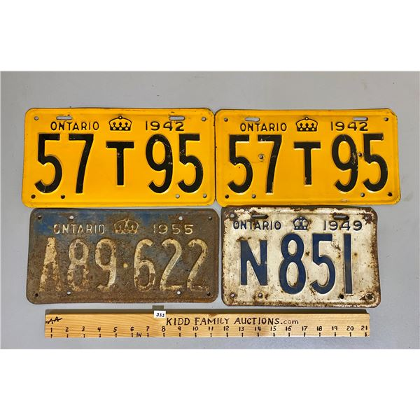 LOT OF ONTARIO LICENCE PLATES - 1942 PAIR, 1949, 1955.