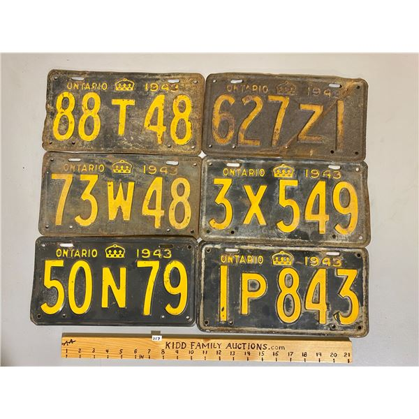 LOT OF 6 - 1943 ONTARIO LICENCE PLATES