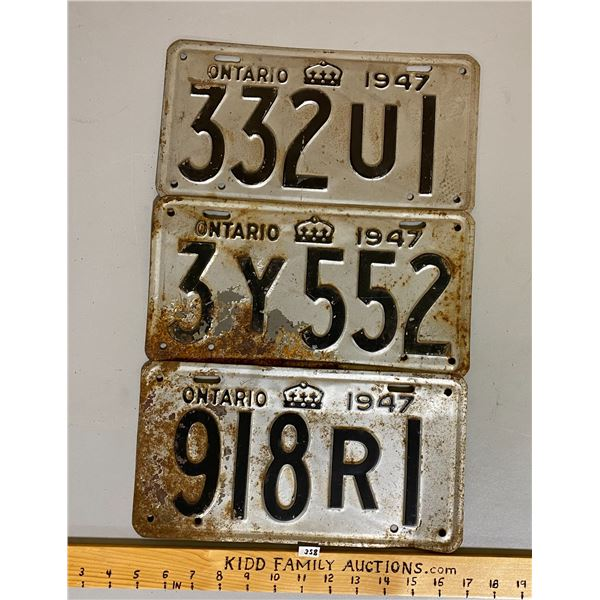 LOT OF 3 - 1947 ONTARIO LICENCE PLATES