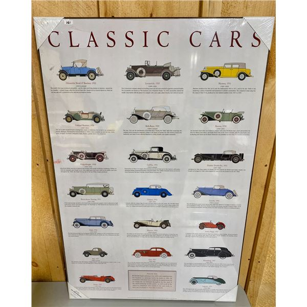 CLASSIC CARS MOUNTED POSTER - AS NEW