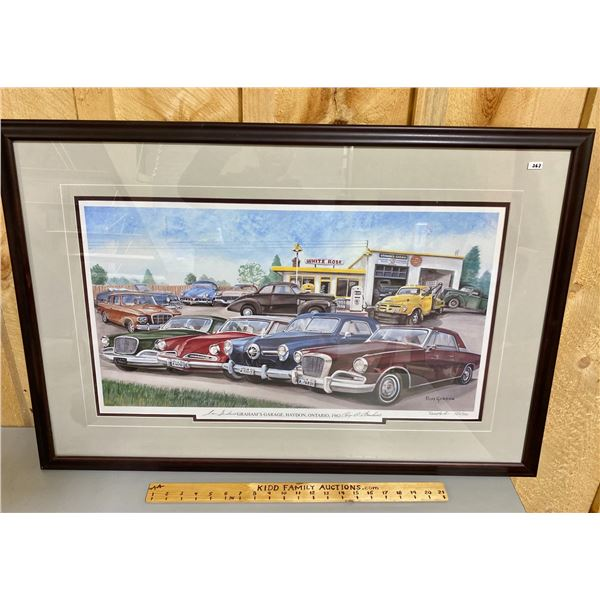 "LIMITED EDITION PRINT - GRAHAM'S GARAGE BY RUSS GORDON - 24"" X 36"""