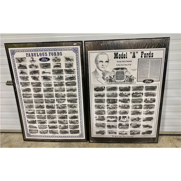 "LOT OF 2 FORD MOTOR CARS POSTERS - 27"" X 40"" FRAMED"