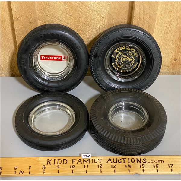 LOT OF 4 TIRE ASHTRAYS - FIRESTONE, DUNLOP, DOMINION ROYAL