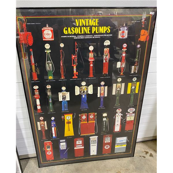 "VINTAGE GAS PUMPS FRAMED POSTER - 27"" X 40"""