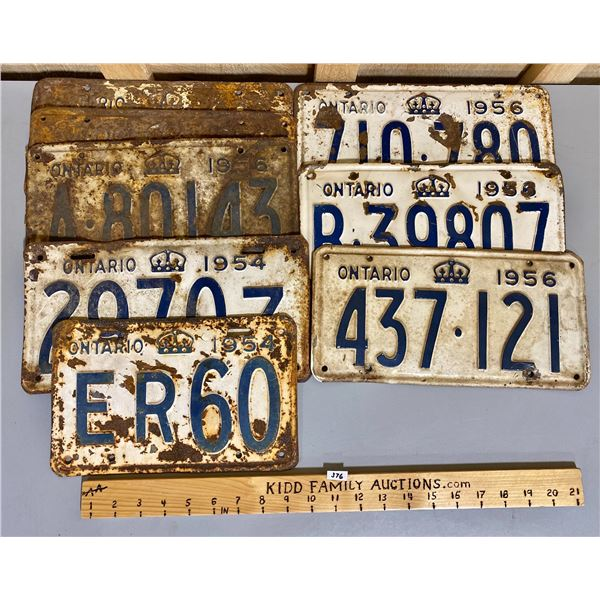 QTY OF 1954 & 1956 ONTARIO LICENCE PLATES