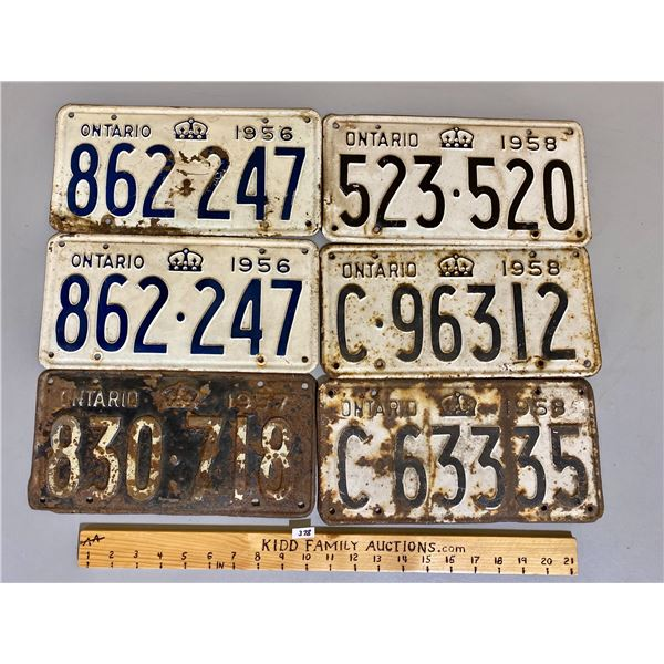 PAIR OF 1956 & 1957 & 1958 ONTARIO LICENCE PLATES