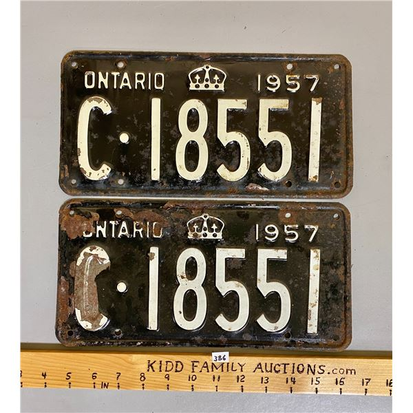 PAIR OF 1957 ONTARIO LICENCE PLATES