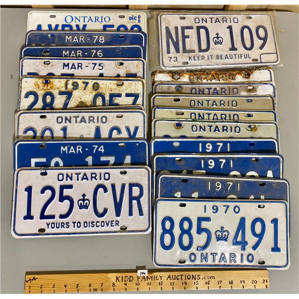 QTY OF 1970's LICENCE ONTARIO PLATES