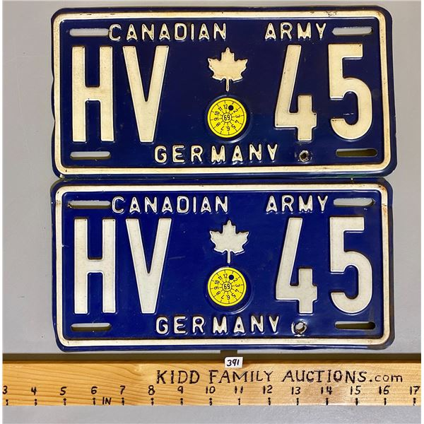 CANADIAN ARMY LICENSE PLATE PAIR GERMANY