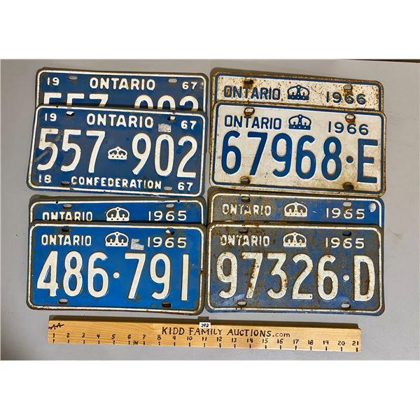 ONTARIO LICENCE PLATES - 2 X 1965 PAIRS, 1966 PAIR, 1967 PAIR