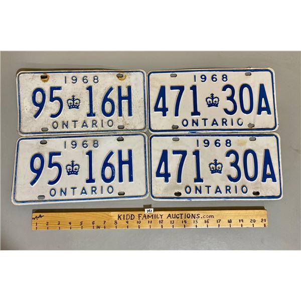 ONTARIO LICENCE PLATES - 2 X 1968 PAIRS