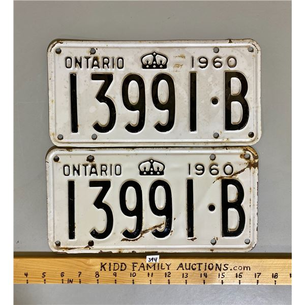 PAIR OF 1960 ONTARIO LICENCE PLATES