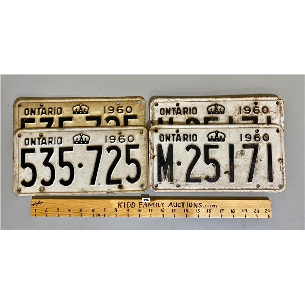 2 X 1960 PAIRS OF ONTARIO LICENCE PLATES