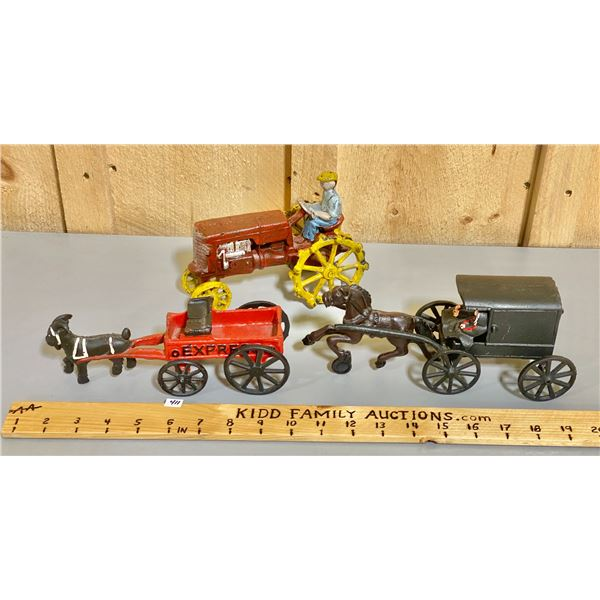 CAST SETS OF HORSE & BUGGY & STEEL WHEEL TRACTOR