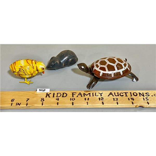 LOT OF 3 TIN WINDUP TIN TOYS - TURTLE, CHICK, MOUSE