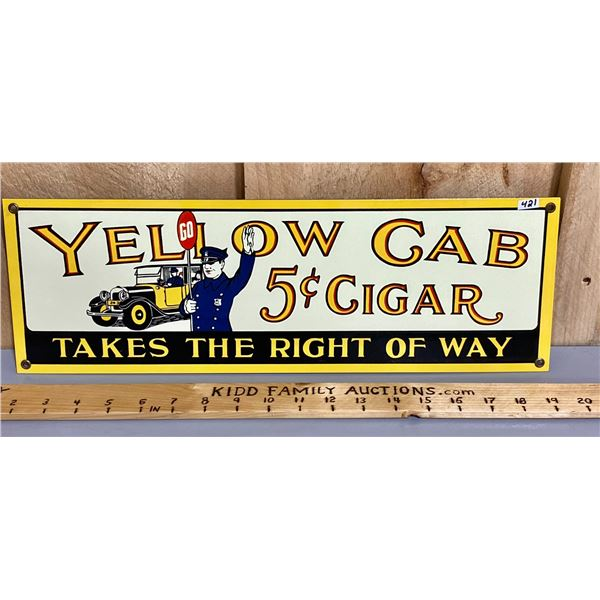 YELLOW CAB CIGARS SSP REPRO SIGN