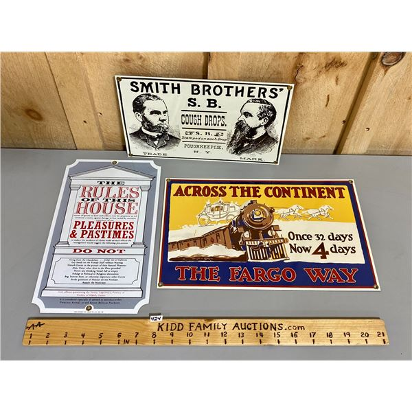 LOT OF 3 REPRO SSP SIGNS - HOUSE RULES, FARGO, SMITH BROS