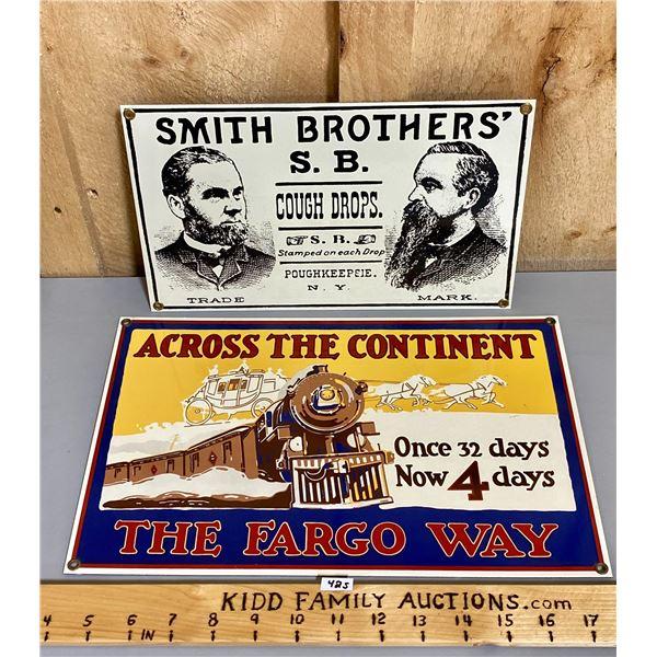 LOT OF 2 SSP SIGNS - FARGO & SMITH BROS