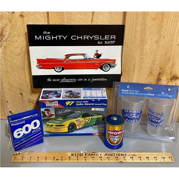 NASCAR MODEL, FORD GLASSES, ROY-O-VAC & POLAROID RADIOS