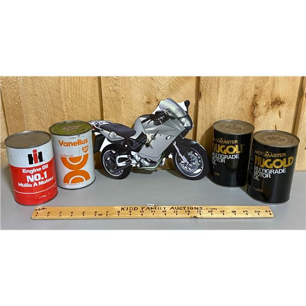 MOTORCYCLE CLOCK & 4 OIL CANS - IH, BP & MOTOMASTER