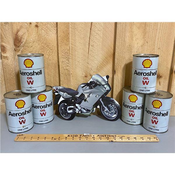 MOTORCYCLE CLOCK & 6 X AEROSHELL OIL CANS - FULL