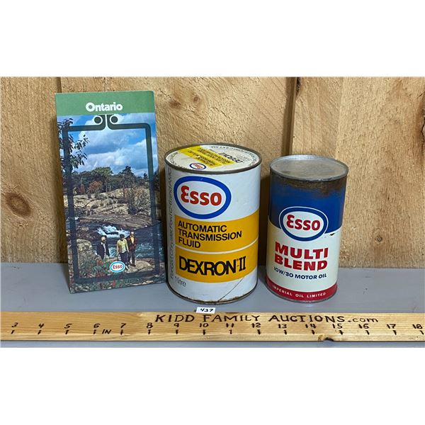 LOT OF 3 -  ESSO OIL CANS - WRAP & TIN (FULL) & MAP