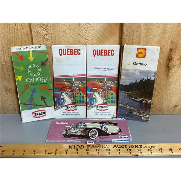 LOT OF MISC VINTAGE MAPS - TEXACO, SHELL, GULF