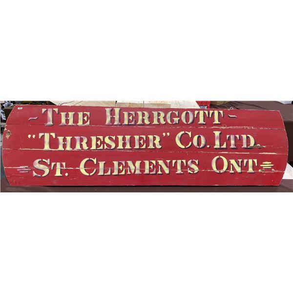 "THE HERRGOTT - ""THRESHER"" CO. LTD - WOOD PLAQUE - ST CLEMENTS ONT - 56"""