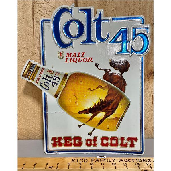 COLT 45 EMBOSSED FOIL WRAPPED CARDBOARD SIGN