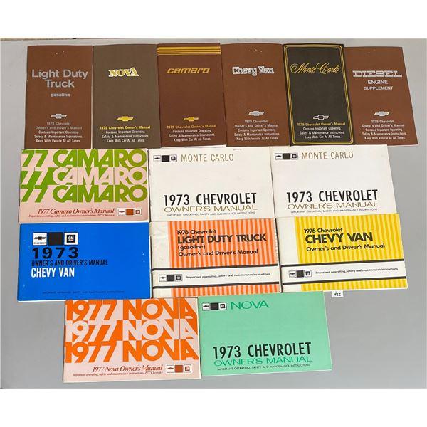 LOT OF 14 1970'S CAR OWNER MANUALS