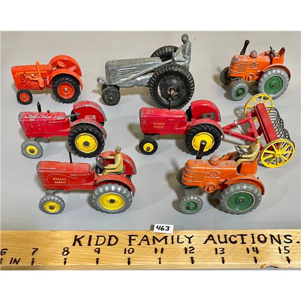 LOT OF 8 MOSTLY DINKY TRACTOR TOYS