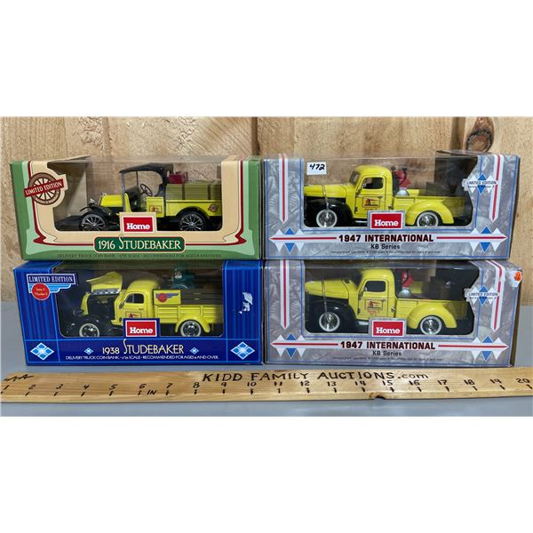 LOT OF 4 HOME HARDWARE 1/25 SCALE DIECAST COIN BANK TRUCKS