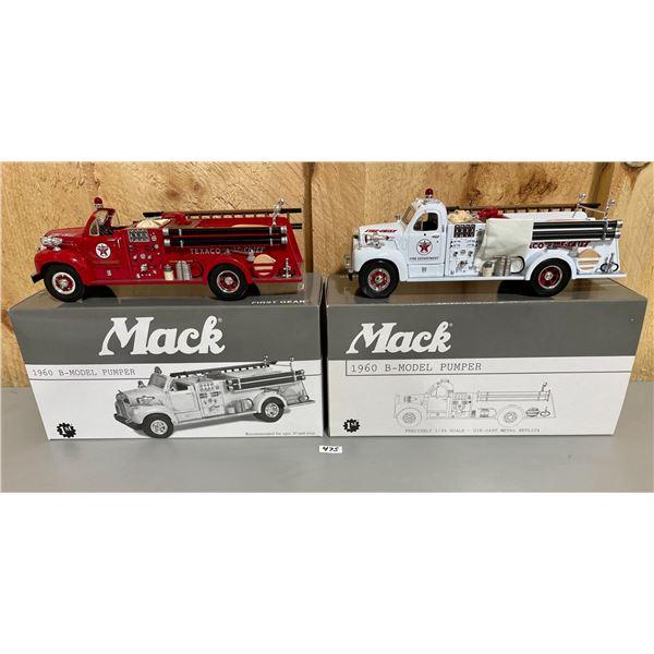 LOT OF 2 FIRST GEAR 1/34 SCALE  MAC TEXACO FIRE CHIEF TRUCKS