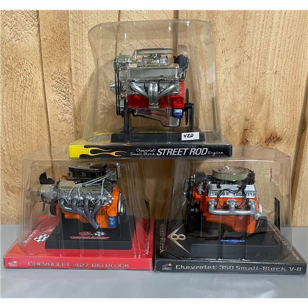 LOT OF 3 DIECAST CHEV MODEL ENGINES