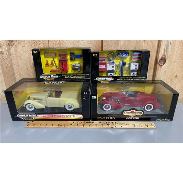 LOT OF 4 AMERICAN MUSCLE 1/18 SCALE CARS & ACCESSORIES