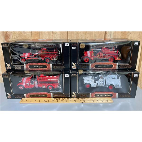 LOT OF 4 YATMING 1/24 SCALE DIECAST VINTAGE FIRE TRUCKS