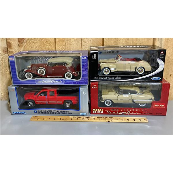 LOT OF 4 - 1/18 SCALE DIECAST CLASSIC VEHICLES
