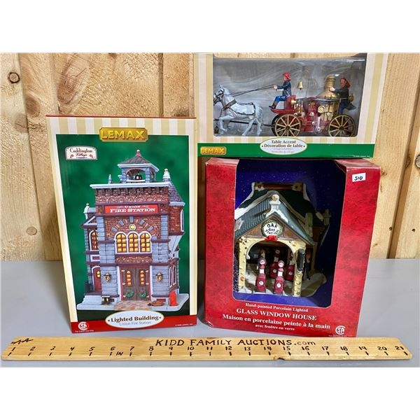 LOT OF 3 - VILLAGE COLLECTION - FIRE STATION, WAGON & GAS STATION.