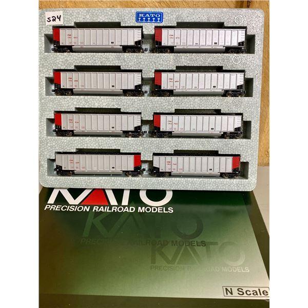 KATO N SCALE LOT OF 8 RAILROAD COAL CARS - AS NEW