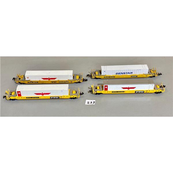 LOT OF 4 - TTX CONTAINER HAULER - MODEL TRAIN PCS - N SCALE