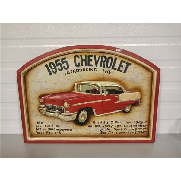 """WOOD EMBOSSED CHEV SIGN - 21"""" X 15.5"""""""