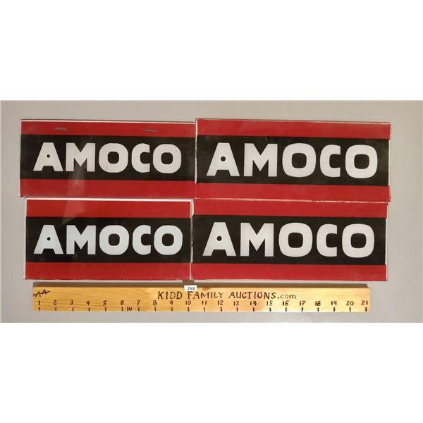 LOT OF 4 AMOCO GLASS PUMP PLATES