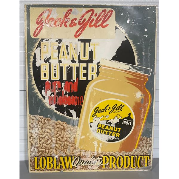 1960's LOBLAWS PAINTED ALUM SIGN FEATURING JACK & JILL PEANUT BUTTER