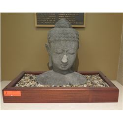 """Buddha Bust Statue in Wooden Box w/ Rocks 24""""Wx15""""H"""