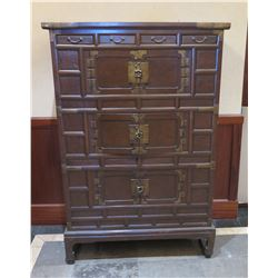 """Tall Wooden Asian Chest w/ 3 Cabinets & 4 Small Drawers 44""""Lx28""""Wx65""""H"""