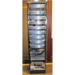 Metal Sound Case w/ Atlas Sound Mixers, Amplifiers, etc & Cords & Connections