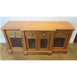 """Wooden Sideboard Buffet w/ 2 Side & Center Cabinets & 3 Drawers 77""""Lx26""""wx36""""H"""